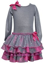 Bonnie Jean Little Girls 2T-6X Shimmer Knit to Metallic Plaid Jewel Bow Front...
