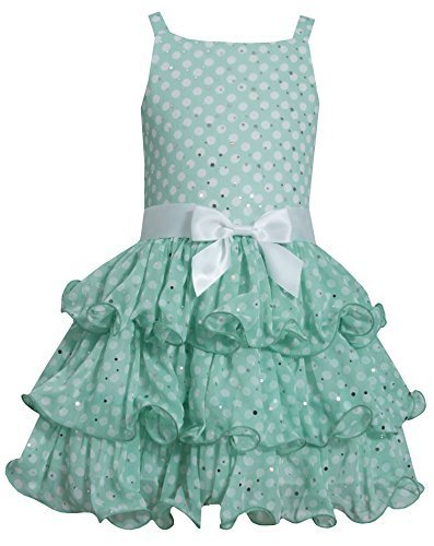 Big-Girls TWEEN 7-16 Green White Sparkle Dot Tier Chiffon Drop Waist Dress, 8...