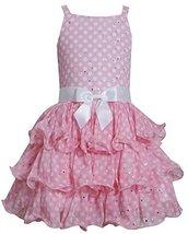 Big-Girls TWEEN 7-16 Pink White Sparkle Dot Tier Chiffon Drop Waist Dress (10... image 1