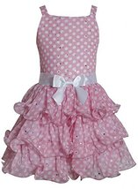 Pink White Sparkle Dot Curvy Wire Tier Chiffon Dress PK4MH, Pink, Bonnie Jean...