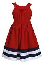 Little Girls 2T-6X Colorblock Border Nautical Resort Dress (6X, Red) [Apparel]
