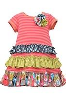 Little Girls 2T-6X Coral Mix Print Ruffles Stripe Knit A-Line Dress, Bonnie J...