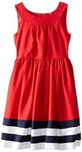 Bonnie Jean Big Girls' Nautical Dress, Red, 7 [Apparel] image 1