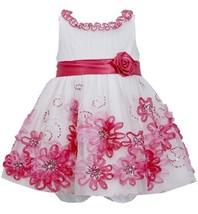 Baby Girls 3M-9M Fuchsia-Pink Ruffle Neckline Sequin Soutache Mesh Overlay Dr...