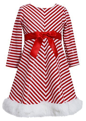 Bonnie Jean Girls 2T-16 Red/White Mitered Stripe Santa Dress (2T, Red) [Apparel]