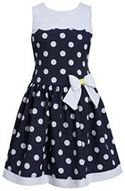 Blue White Nautical Resort Polka Dot Drop Waist Dress, NV3SA, Navy, Bonnie Je...