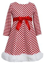 Bonnie Jean Girls 2T-16 Red/White Mitered Stripe Santa Dress (4T, Red) [Apparel]