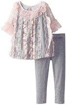 Baby Girls Pink Grey Lace and Ribbon Bubble Dress/Legging Set, X0-BBNI-HOL15,...