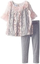 Baby Girls Pink Grey Lace and Ribbon Bubble Dress/Legging Set, X0-BBNI-HOL15,...