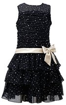 Bonnie Jean Little Girls 4-6X Black/Gold Sparkle Foil Dot Tier Mesh Dress, BK...