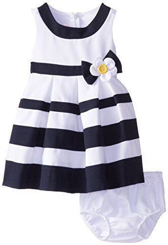 Bonnie Baby Baby Girls' White Nautical Banded Dress, Navy, 24 Months [Apparel]