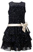 Bonnie Jean Little Girls 4-6X Black/Gold Sparkle Foil Dot Tier Mesh Dress, BK...