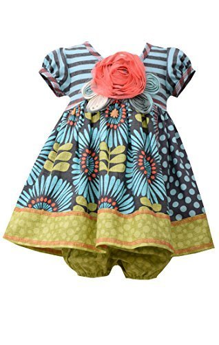 Baby Girls Infant Aqua-Blue/Multi Stripe Knit to Sunflower Mix Print Dress, A...