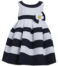 Little Girls Daisy Flower Pleated Colorblock Nautical Resort Dress (2T, Navy)