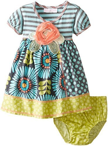 Bonnie Baby Baby Girls' Stripe To Mixed Print Skirt, Aqua, 24 Months [Apparel]