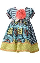 Little Girls Aqua-Blue/Multi Stripe Knit to Sunflower Mix Print Dress, AU2HA,...