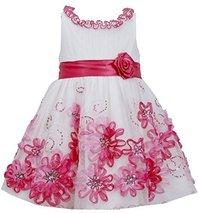 Little Girls 2T-6X Fuchsia-Pink Sequin Soutache Mesh Overlay Dress (3T, Fuchsia)