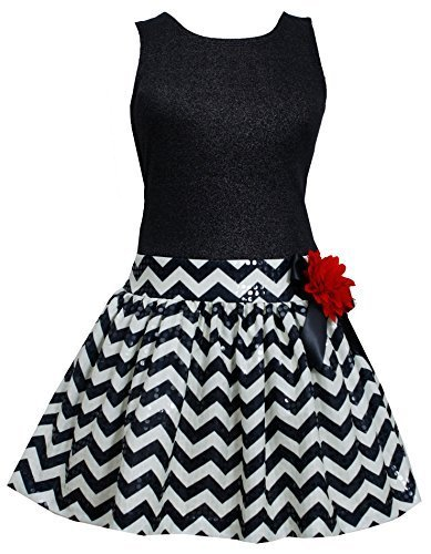 Bonnie Jean Little Girls 4-6X Shimmer Knit Spangle Chevron Stripe Drop Waist ...