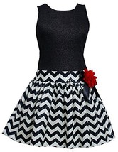 Bonnie Jean Little Girls 4-6X Shimmer Knit Spangle Chevron Stripe Drop Waist ... image 1