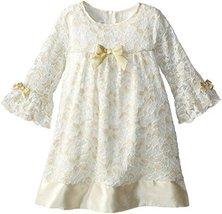Bonnie Jean Baby-Girls Newborn Gold Ivory Glitter Lace Dress/Legging Set (3-6... image 2