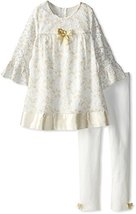 Bonnie Jean Baby-Girls Newborn Gold Ivory Glitter Lace Dress/Legging Set (6-9...