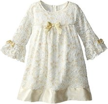 Bonnie Jean Baby-Girls Newborn Gold Ivory Glitter Lace Dress/Legging Set (6-9... image 2