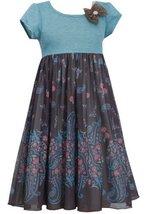 Little Girls 4-6X Brown Turquoise Stripe Knit to Paisley Border Chiffon Dress...