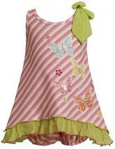 Size-12M, Pink, BNJ-2423M, 2-Piece Pink Bias Stripe Sequin Butterfly Bow Shou...