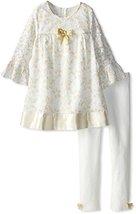 Bonnie Jean Little Girls' Lace with Lame Hem Legging Set, Gold, 6 [Apparel] B...