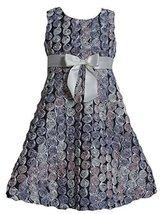 Big Girls Tween Metallic Silver Spiral Bonaz Rosette A-Line Dress (8, Silver)