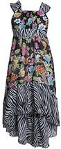 Little-Girls 2T-6X Black/White Multi Floral Chiffon High-Low Maxi Dress, 4, B...