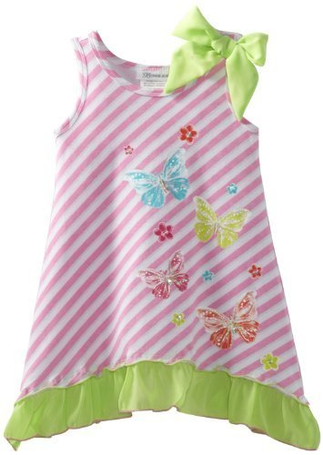 Bonnie Jean Girls 2-6X Pink Stripe Butterfly Screen Print Dress (2T, Pink)