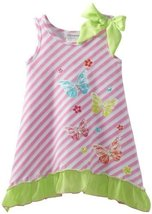 Bonnie Jean Girls 2-6X Pink Stripe Butterfly Screen Print Dress (2T, Pink) image 1