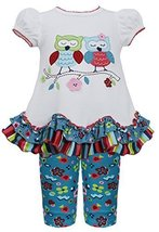 Baby-Girls 3M-24M Ivory Turquoise Love Owl Bird Dress/Legging Set, Bonnie Bab...