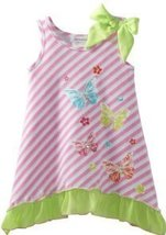 Bonnie Jean Girls 2-6X Pink Stripe Butterfly Screen Print Dress (2T, Pink) image 2