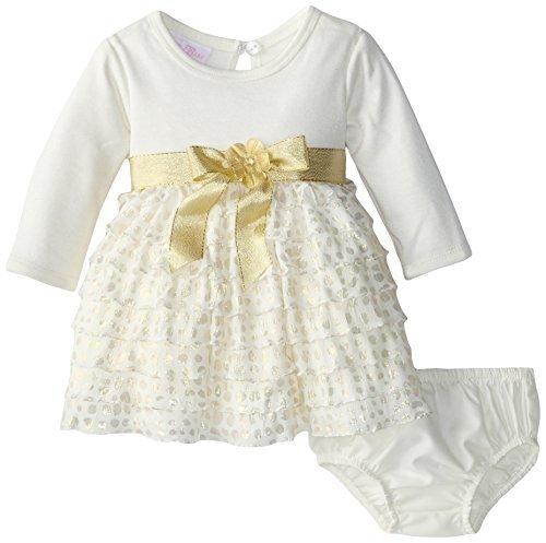 Bonnie Baby Baby Girls 3M-24M Pink Ivory Knit to Tier Eyelash Ruffles Dress