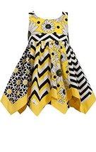Little Girls Yellow Mix Chevron Floral Print Hanky Hem Dress, Bonnie Jean, Ye...