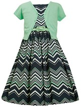Big-Girls Tween Mint-Green/Blue Chevron Stripe Belted Dress/Jacket Set, MN4MU...