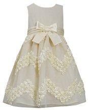 Little-Girls 2T-6X Yellow Chevron Bonaz Rosette Mesh Overlay Dress (2T, Yellow)