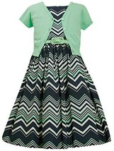 Big-Girls Tween Mint-Green/Blue Chevron Stripe Belted Dress/Jacket Set, MN4MB...
