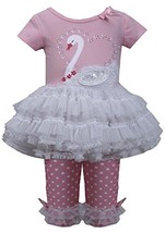Baby Girls 3M-24M Pink White Sequin Swan Applique Tutu Dress/Legging Set (24M... image 1