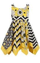 Little Girls Yellow Mix Print Panel Hanky Hem Dress, Bonnie Jean, Yellow, 5