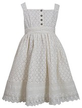 Little-Girls 2T-6X Ivory Button Lace Overlay Dress, 6X, Ivory, Bonnie Jean, T...