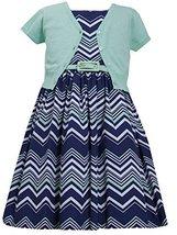 Big Girls Plus 12.5-20.5 Mint-Green/Blue Chevron Stripe Belted Dress/Jacket S...