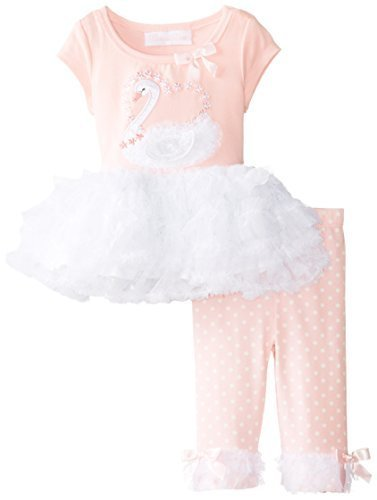 Bonnie Baby-Girls Newborn Swan Applique Legging Set (24 Months, Pink) [Apparel]
