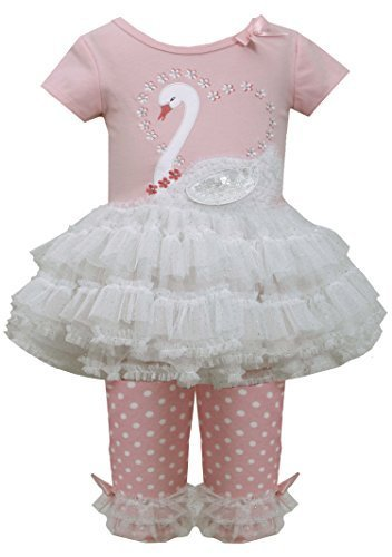 Baby Girls 3M-24M Pink White Sequin Swan Applique Tutu Dress/Legging Set (24 ...