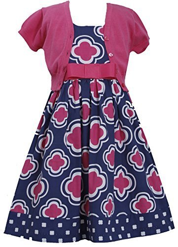 Little Girls Fuchsia-Pink Blue Geometric Flower Print Dress/Jacket Set (4, Fu...