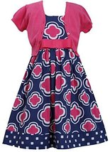 Little Girls Fuchsia-Pink Blue Geometric Flower Print Dress/Jacket Set (6x, F...