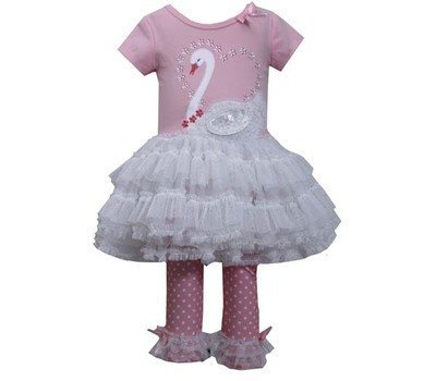 Bonnie Jean Little Girls' Swan Appliqued Legging Set, Pink, 3T [Apparel]