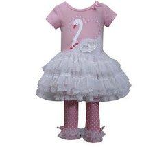 Bonnie Jean Little Girls' Swan Appliqued Legging Set, Pink, 3T [Apparel]
